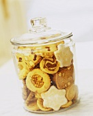 Christmas biscuits in a glass jar