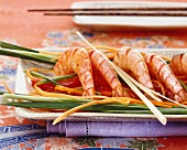 Asian style shrimps with strips of vegetables