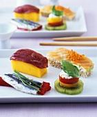 International dish: Western style sushi snacks