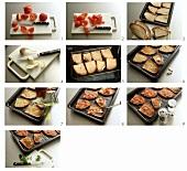 Zubereiten von Bruschetta (Geröstetes Brot mit Tomaten)