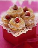 Choux pastry hearts with raspberry & mascarpone filling