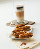 Eclairs filled with coffee truffle cream