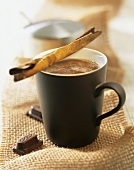 Café Mexicano with chocolate and coffee liqueur in mug