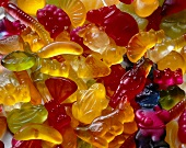 Wine gum and fruit gum figures, filling the picture