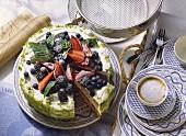 Buckwheat cake with yoghurt cream and mixed berries