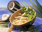 Coconut soup with chicken and bananas (from Bahia, Brazil)