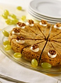 Moist grape and walnut cake