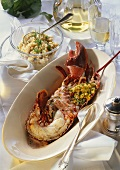 Lobster with coral butter (roe butter) & pearl barley risotto