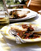 Pesce spada alla siciliana (swordfish with tomatoes)