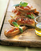 Bruschette (toasted bread with tomatoes), Tuscany, Italy