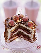Small Black Forest gateau, slices taken