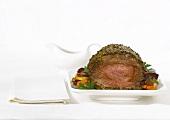 Roast beef on vegetables