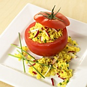 Tomato stuffed with curried rice