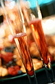 Two champagne glasses with Kir Royal