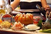 Zutaten für Camarao na Moranga (Kürbis-Shrimps-Gericht)