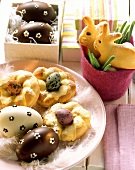 Easter eggs, nests and bunnies in quark bread dough