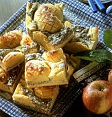 A few pieces of apple quark cake with poppy seeds
