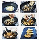 Making creamed mushrooms