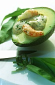 Avocado with shrimps and ramsons (wild garlic) aioli