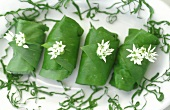 Ramsons (wild garlic) rolls with herb & soft cheese filling