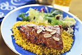 Indian Tandoori beef on curried rice