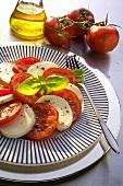 Insalata caprese (Tomato and mozzarella salad, Italy)