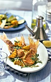 Barbecued red mullet with rocket butter