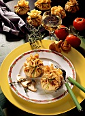Crepes pouches with chanterelle filling