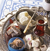 Turkish Delight, fruit jelly cubes and dried figs