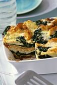 Spinach and salmon lasagne in a baking dish