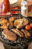 Steak, spare-ribs, salmon cutlet and chicken wings on barbecue