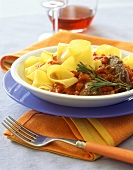 Pappardelle ai fegatelli (Pasta with tomatoes & turkey liver)