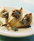 Three baked pear quarters with Roquefort & walnut stuffing
