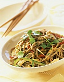 Noodle salad with vegetables and soba noodles
