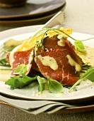 Carpaccio (beef carpaccio with Parmesan cakes and rocket)