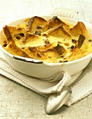 Bread and butter pudding in a baking dish