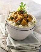 Spicy chicken and vegetable curry on rice