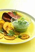 Frankfurt green sauce with yoghurt, potato crisps, roast beef