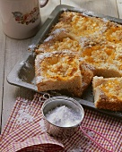 Pineapple cake with grated coconut on baking tray