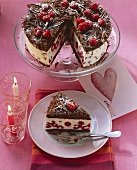 Chocolate gateau with raspberry and yoghurt cream filling