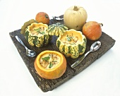 Pumpkin soup with toasted croutons, served in pumpkins
