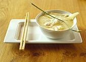 Asian cauliflower soup with glass noodles and mushrooms