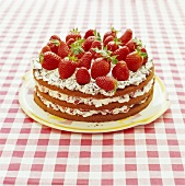 Strawberry gateau with chocolate sponge and fresh strawberries