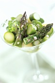 Asparagus salad with green and white asparagus