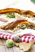 Flatbread sandwich with chicken breast and quark mousse
