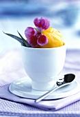 Aprikosensorbet in einem Becher mit Blüte