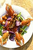 Quail on tomato salad with crayfish