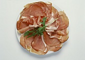 Slices of smoked ham on a plate