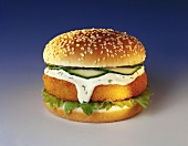 Classic fish burger with remoulade sauce