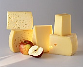 Various types of hard cheese from Carinthia and apples